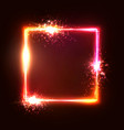 glowing geometric square shape on red background vector image