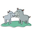 hippopotamus couple over grass in watercolor vector image vector image