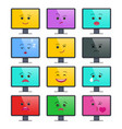 lcd display with funny emoticons isolated set vector image