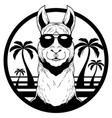 llama summer mascot vector image