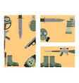 military weapon guns symbols armor cards forces vector image vector image