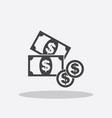 money icon black coins flat vector image