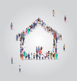 people crowd gathering in home icon shape social vector image