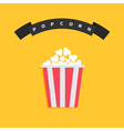 Popcorn Big round wave black ribbon line with text vector image vector image