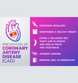 prevention of coronary artery disease cad icon vector image vector image