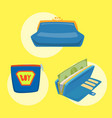 purse blue wallet with money ico for vector image vector image