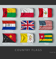 riveted country flag wrinkled with shadows vector image vector image