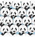 seamless pattern with panda faces vector image