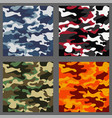 set of camouflage seamless patterns background vector image vector image