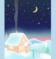 small ski house at night in the mountains vector image