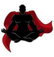 superhero meditating silhouette vector image vector image