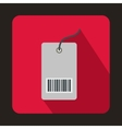 Tag with bar code icon flat style vector image vector image
