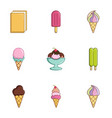 tasty ice cream icons set flat style vector image