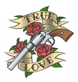 tattoo with revolver and roses vector image vector image