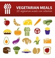 vegetarian meals icons vector image