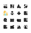 videography black glyph icons set on white space vector image vector image