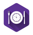 white plate with clock fork and knife icon vector image vector image