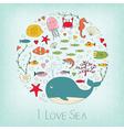 Cute marine life vector image