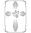 Symbolic cross and dove Template emblem for vector image