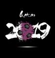 2019 new year and soccer ball as flag qatar vector image vector image