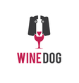 a dog and a bottle of wine in negative space vector image vector image