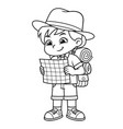 adventure girl looking on her guide map bw vector image vector image