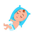 baby infant in diaper sleeps on blue pillow vector image
