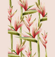 bird paradise flower pattern green and red vector image vector image