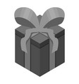 black gift box icon isometric style vector image