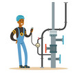 black oilman worker on an oil pipeline controlling vector image
