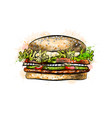 burger from a splash watercolor hand drawn vector image vector image