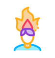 burning man head icon outline vector image vector image