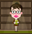 cartoon librarian girl with glasses and a book in vector image