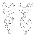 chickens hand draw sketch rooster icons set vector image