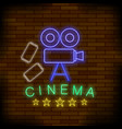 cinema light neon sign colored signboard bright vector image vector image