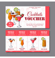 cocktail discount voucher for cafe or restaurant vector image vector image