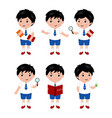 collection of little boys in school uniform vector image