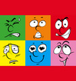 colorful background with facial expressions vector image vector image