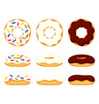 colorful cartoon various donut set vector image vector image