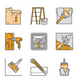 construction tools color icons set vector image vector image