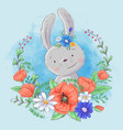 Cute cartoon bunny in a wreath poppies and