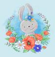 cute cartoon bunny in a wreath poppies vector image