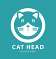 cute cat head logo circles design template vector image vector image