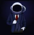 elegant man in suite with space helmet on his head vector image