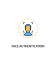 face authentication concept 2 colored line icon vector image vector image