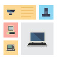 flat icon computer set of notebook technology pc vector image vector image
