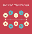 flat icons boots sundress coat and other vector image