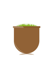 Flower pot with grass vector image vector image
