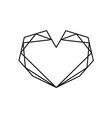 geometric black heart shape frame with vector image