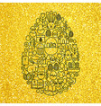 Gold and Black Happy Easter Line Icons Set Egg vector image vector image